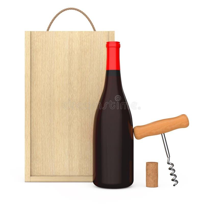 Wijnfles, Houten Wijnkurketrekker en Cork dichtbij Lege Houten Wi royalty-vrije illustratie