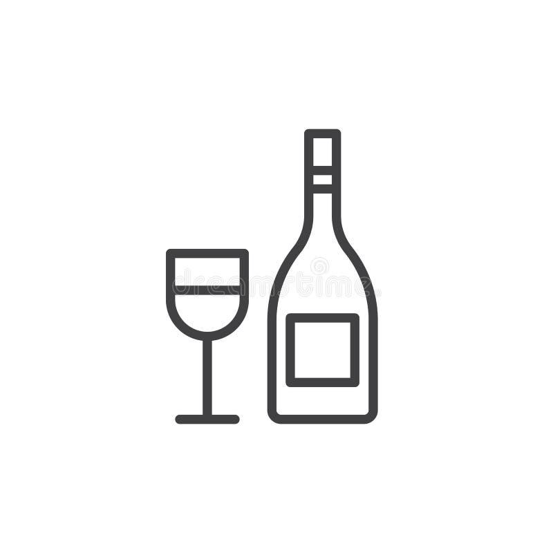 Wijnfles met het pictogram van de wijnglaslijn, overzichts vectorteken, lineair die stijlpictogram op wit wordt geïsoleerd stock illustratie