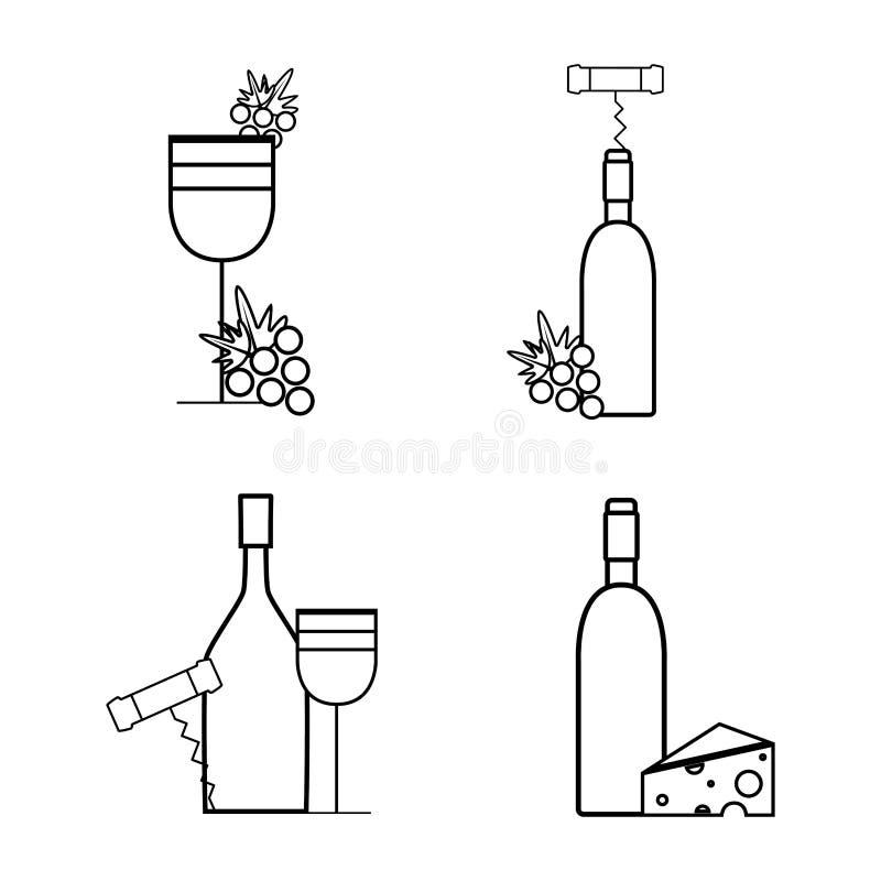 Wijnflessen en glas met druif, kaas en kurketrekker vector illustratie