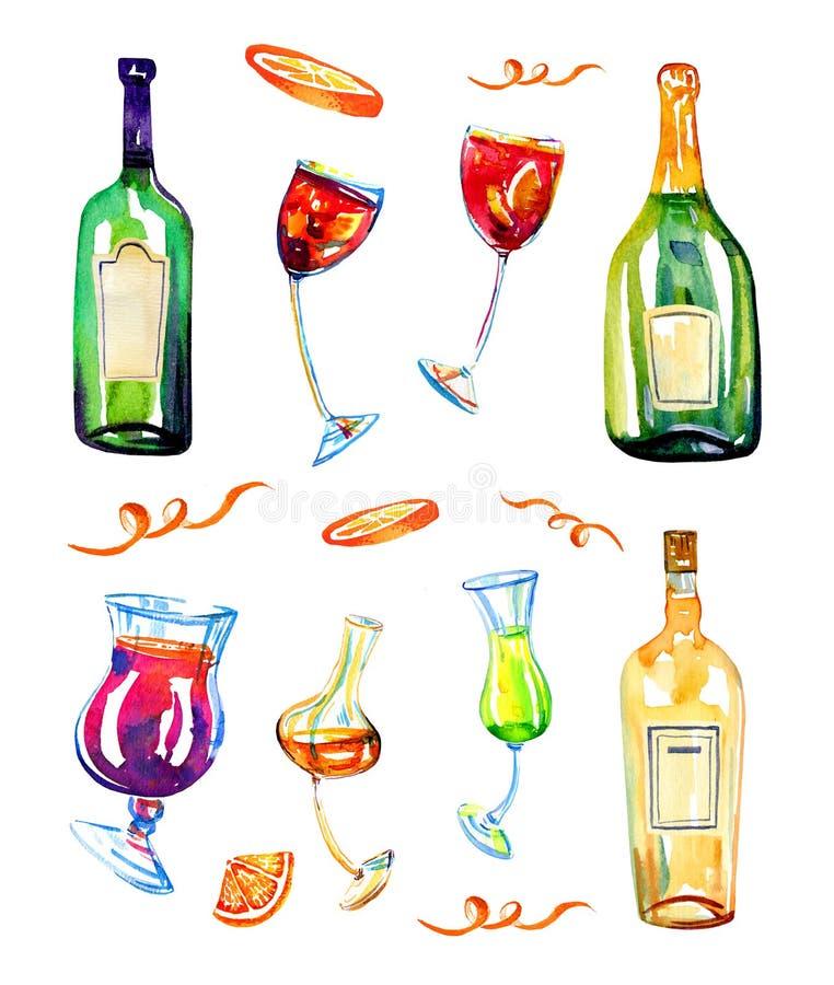 Wijnflessen en glazen met dranken De illustratiereeks van de waterverfhand getrokken schets royalty-vrije illustratie
