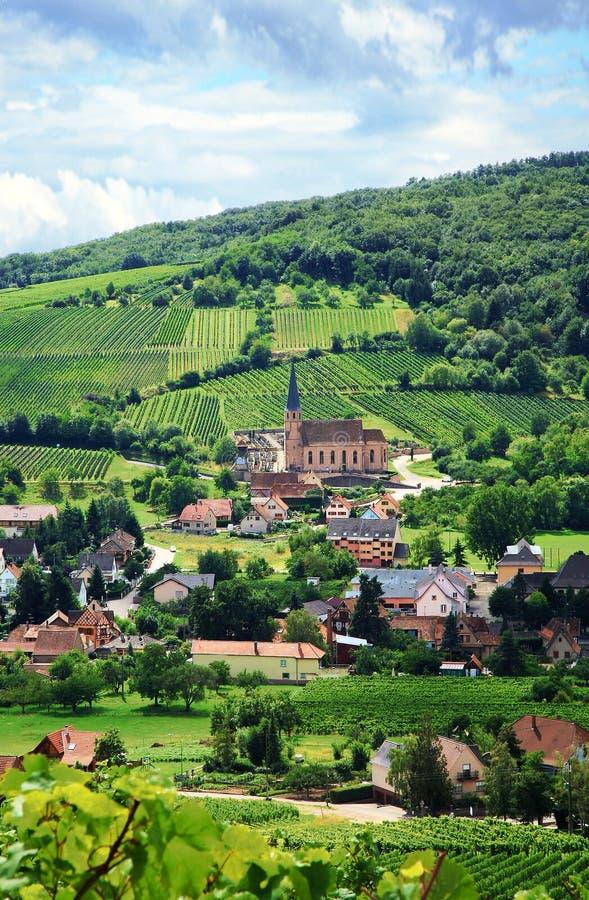 Wijngaard en klein dorp in de Elzas - Frankrijk royalty-vrije stock foto's