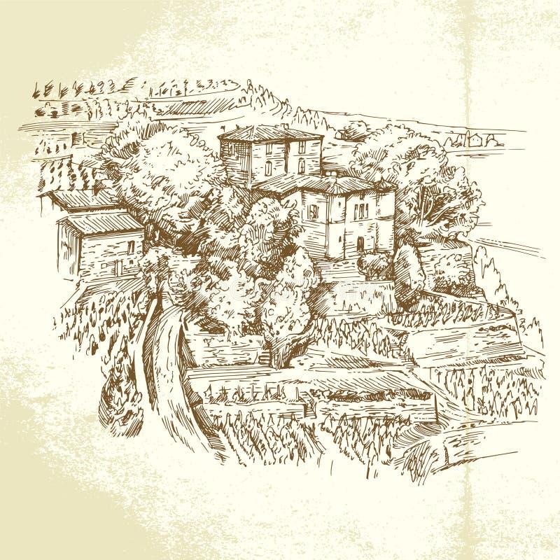 Wijngaard Frankrijk royalty-vrije illustratie