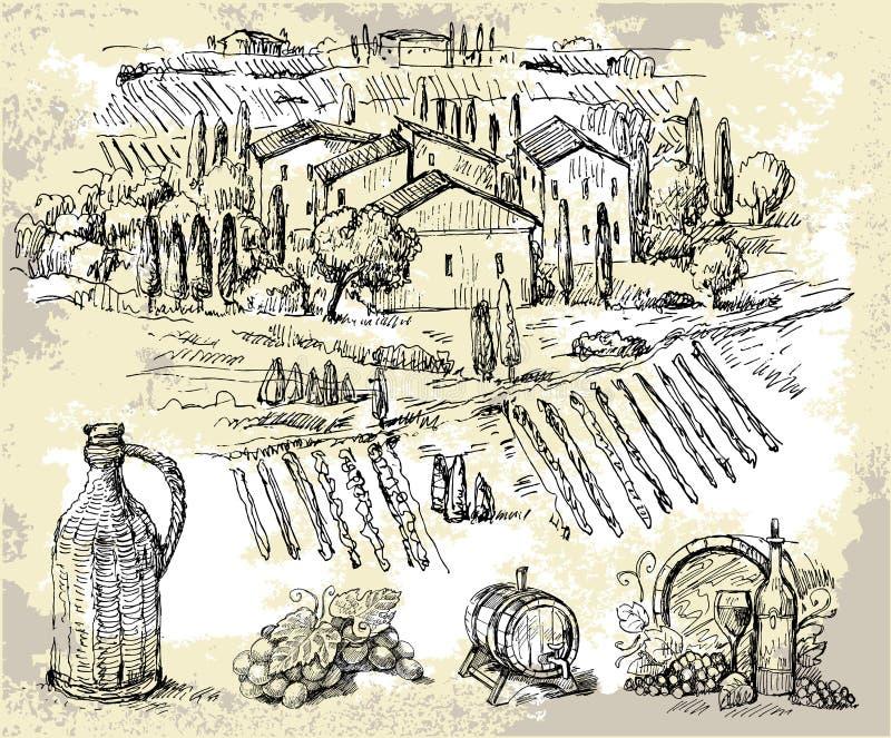 Wijngaard-originele hand getrokken inzameling stock illustratie