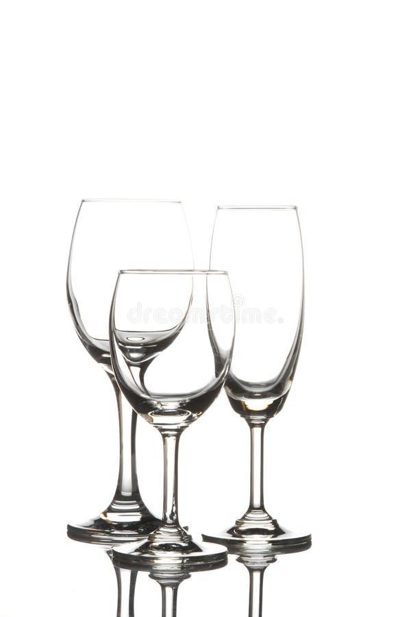 Wijnglas en champagneglas royalty-vrije stock afbeeldingen