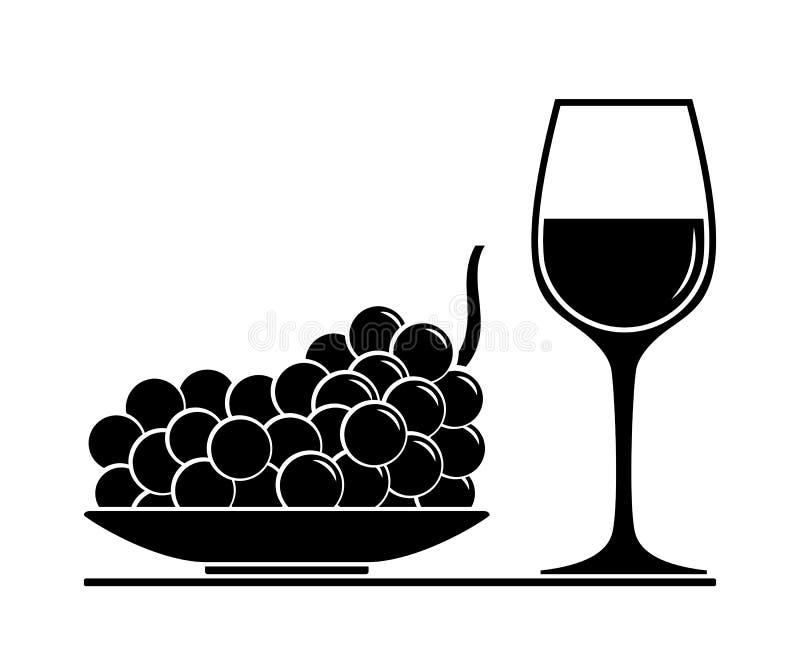 Wijnglas en druif stock illustratie