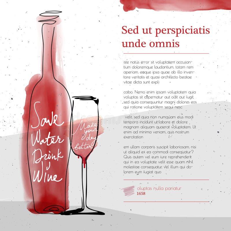 Wijnglas en fles, rood waterverf geschetst silhouet vector illustratie