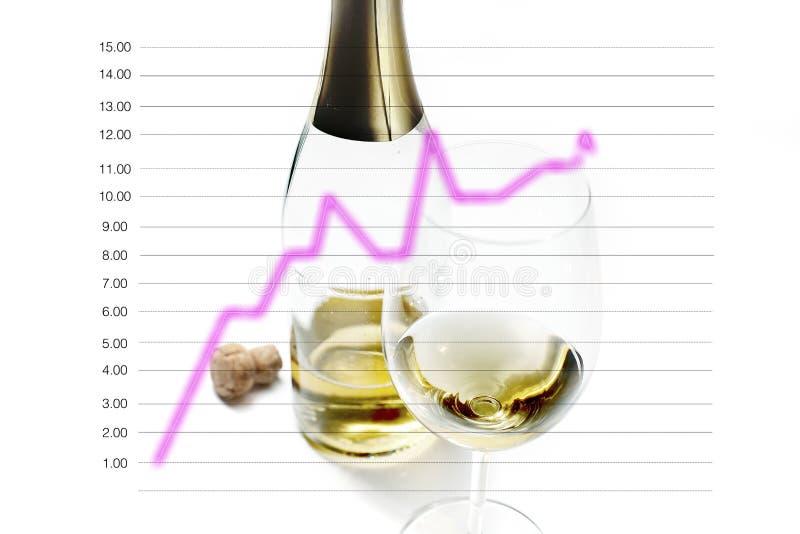 Wijnglas en flessen met cork Lijngrafiek in het concept marketing strategie en bedrijfsontwikkeling wordt geïsoleerd die stock afbeelding
