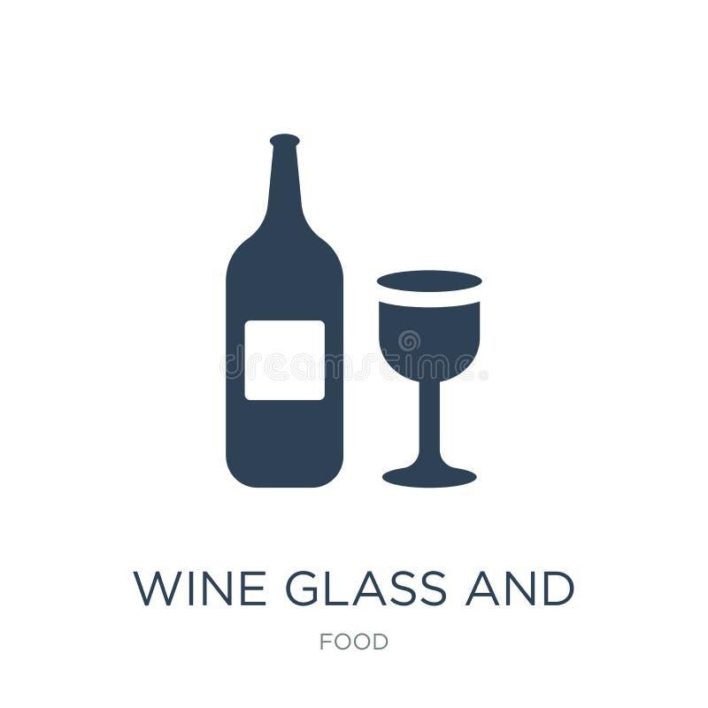 wijnglas en flessenpictogram in in ontwerpstijl wijnglas en flessenpictogram op witte achtergrond wordt geïsoleerd die Het Glas e vector illustratie