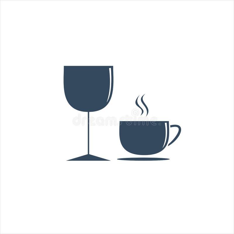 Wijnglas en Kop Vectorillustratie royalty-vrije stock foto's