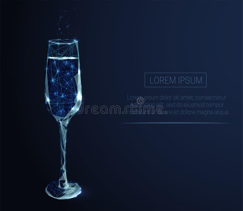 Wijnglas met champagne stock foto