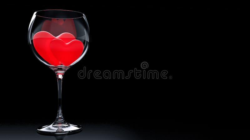 Wijnglas met Rode Harten op de Dag van Valentine stock illustratie