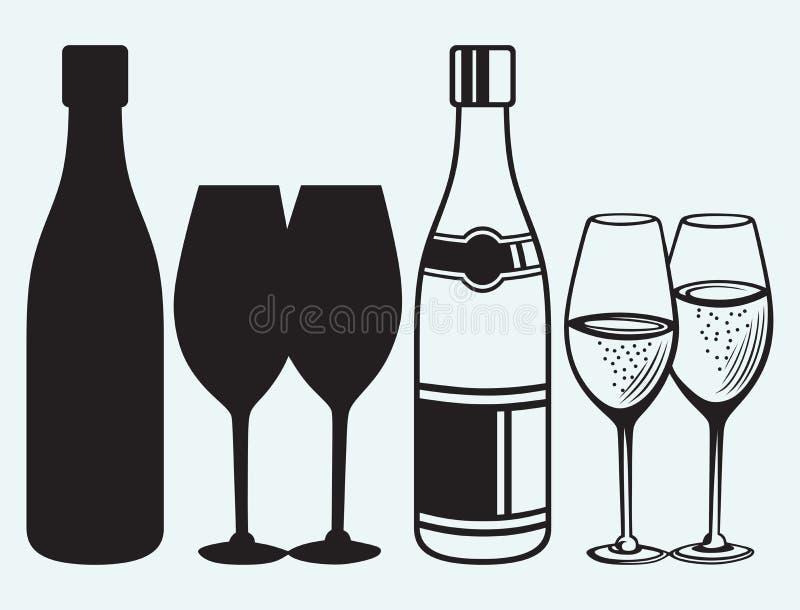 Wijnglazen en flessen stock illustratie
