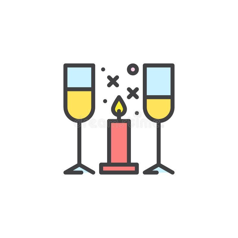 Wijnglazen en kaars gevuld overzichtspictogram stock illustratie