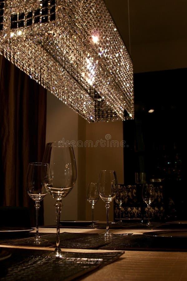 Wijnglazen en lichte reflecti royalty-vrije stock afbeeldingen