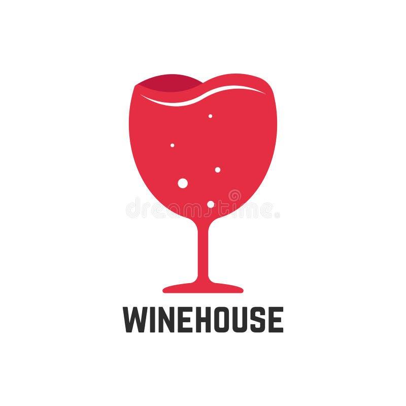 Wijnhuis logotype met rood wijnglas royalty-vrije illustratie