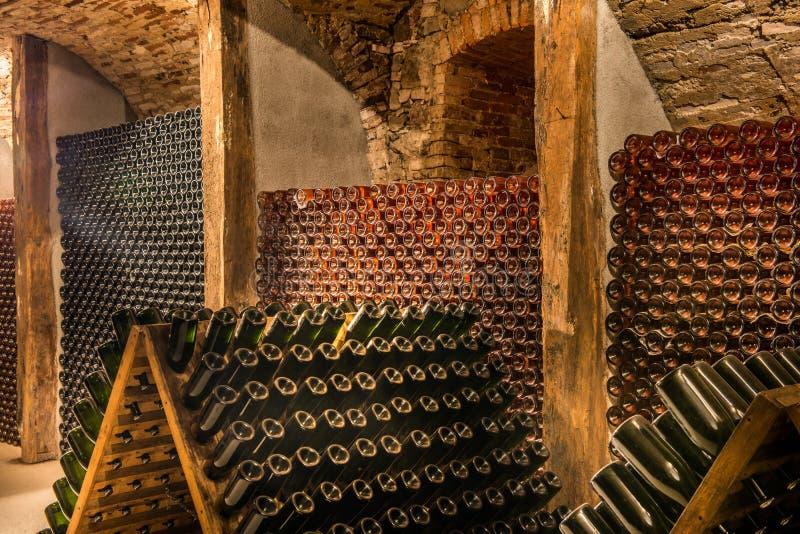 Wijnkelder, een rij van champagneflessen royalty-vrije stock afbeelding