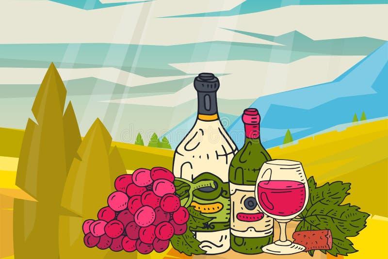 Wijnlijst met van het de aardlandschap van snacksbergen vector de illustratiesglas van de fles van de wijndruif Proevend gebeurte royalty-vrije illustratie