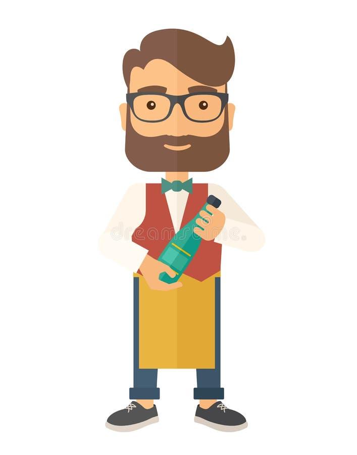 Wijnmaker die een fles wijn houden stock illustratie