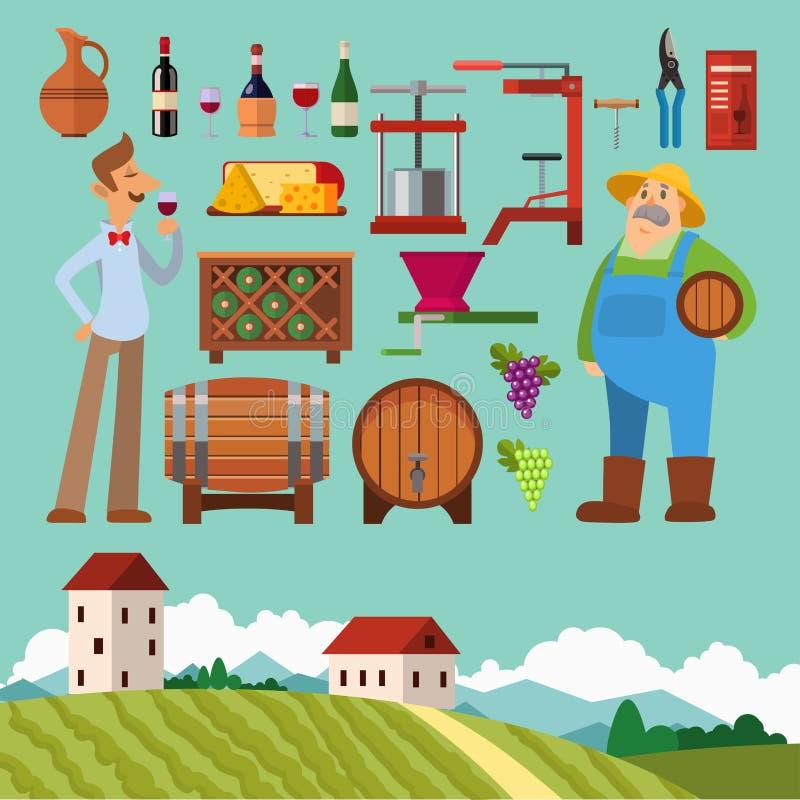 Wijnmakerij die van het de wijngaardglas van de oogstkelder van de de drankindustrie de alcohol tot productie maken vectorillustr vector illustratie