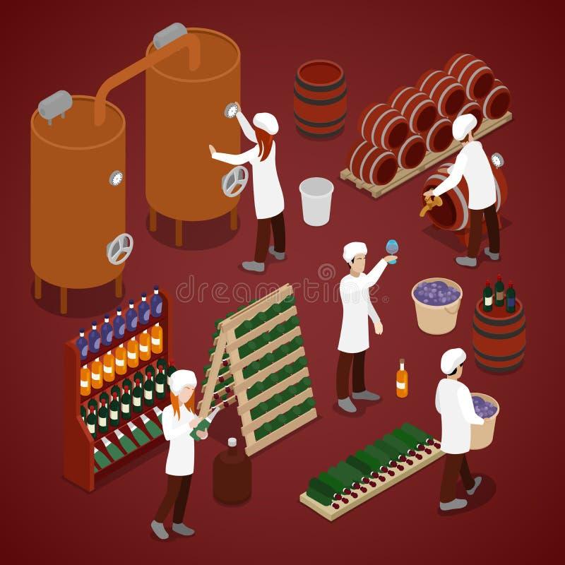 Wijnmakerijfabriek Wijnproductielijn Isometrische vlakke 3d illustratie stock illustratie