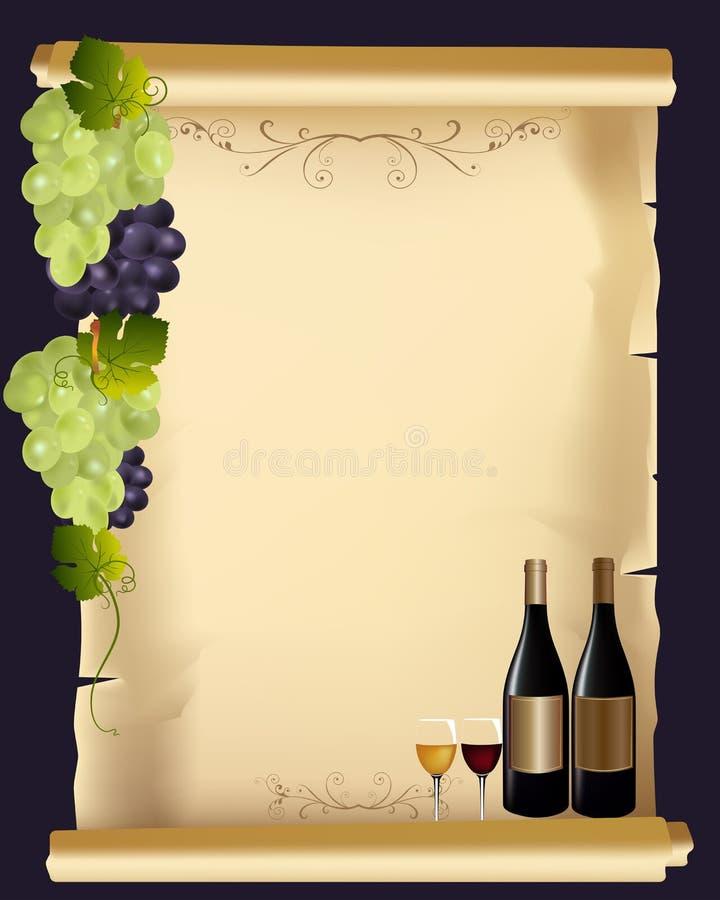 Wijnmenu royalty-vrije illustratie