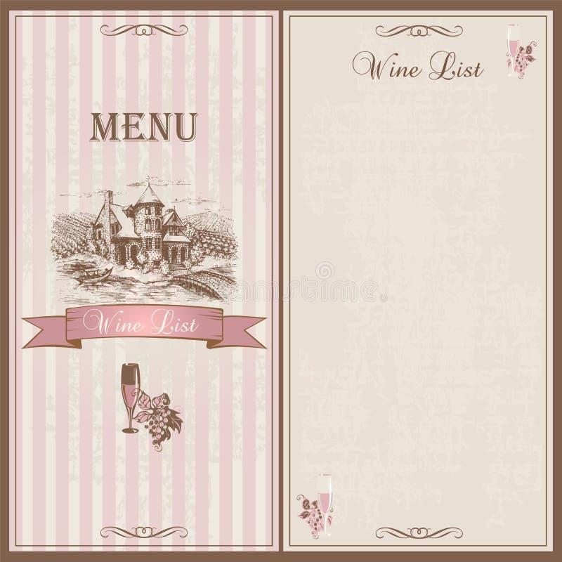 Wijnmenu Het Malplaatjeontwerp van de wijnlijst voor restaurants Schets van het kasteel met druivengebieden Druiven en een glas w vector illustratie