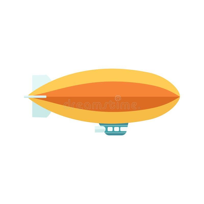 Wijnoogst baloon met geïsoleerde mandzeppelin of dirigible vliegtuigen vlakke vector stock illustratie