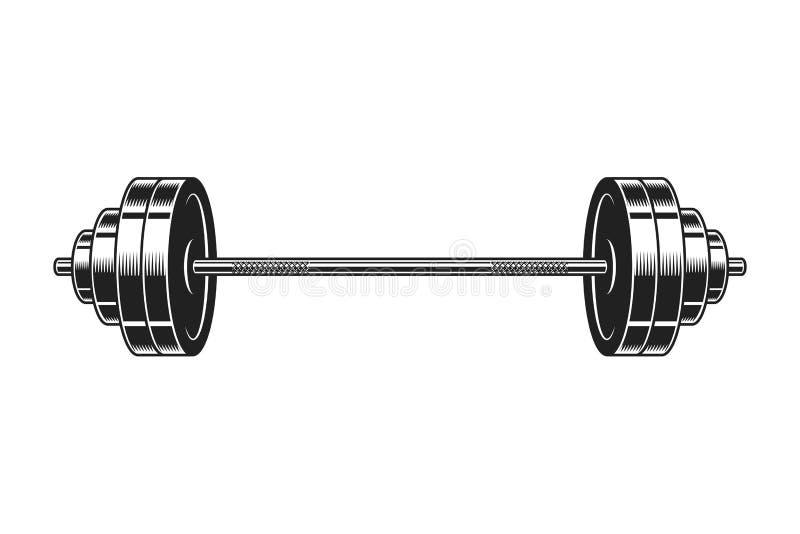 Wijnoogst barbell voor het bodybuilding van pictogram stock illustratie