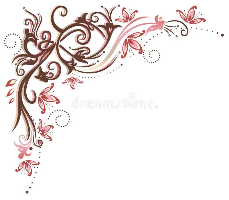 Wijnoogst, bloemen, grens vector illustratie