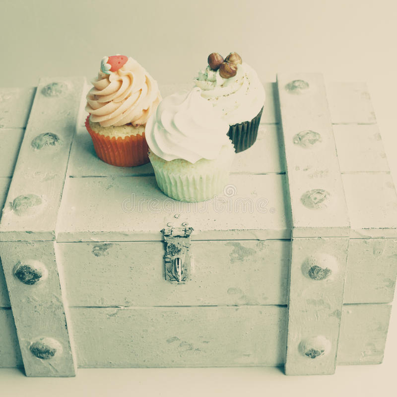 Wijnoogst cupcakes stock foto