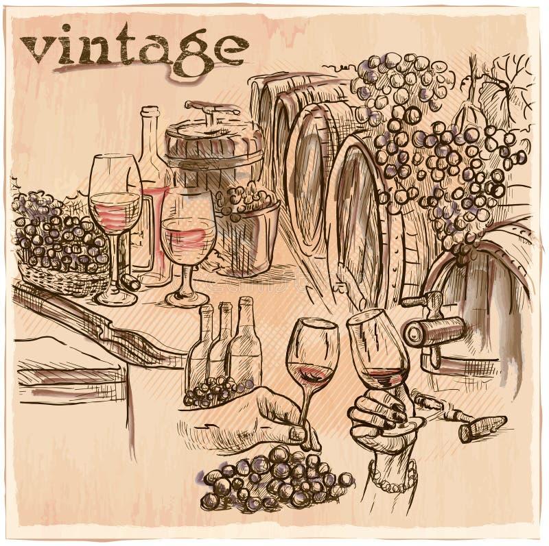 wijnoogst De kelder van de wijn Een hand getrokken vectorbeeld Zieke lijnkunst vector illustratie