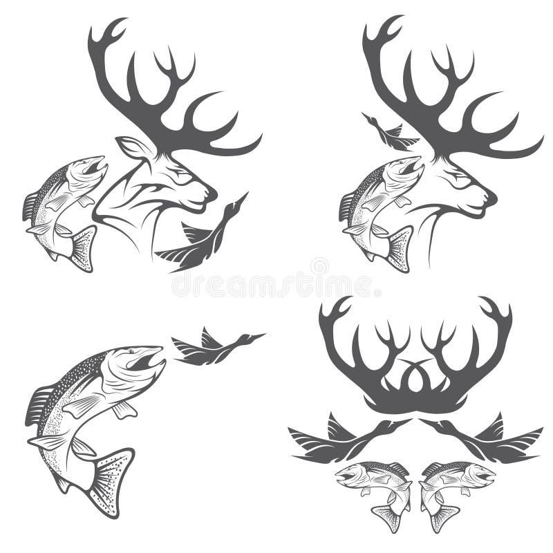 Wijnoogst die en visserijetiketten en ontwerpelementen jagen stock illustratie