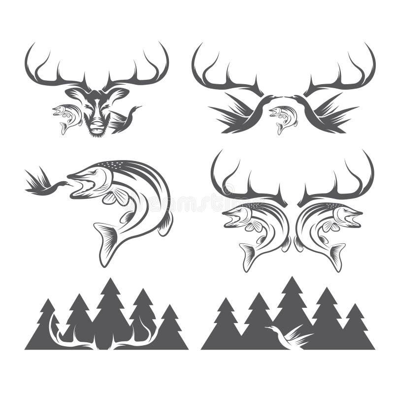 Wijnoogst die en visserijetiketten en ontwerpelementen jagen royalty-vrije illustratie