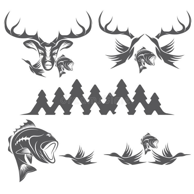 Wijnoogst die en visserijetiketten en ontwerpelementen jagen vector illustratie