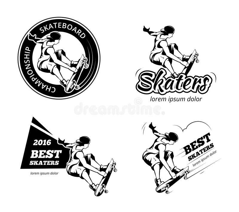 Wijnoogst die etiketten, emblemen en kentekens vectorreeks met een skateboard rijden royalty-vrije illustratie
