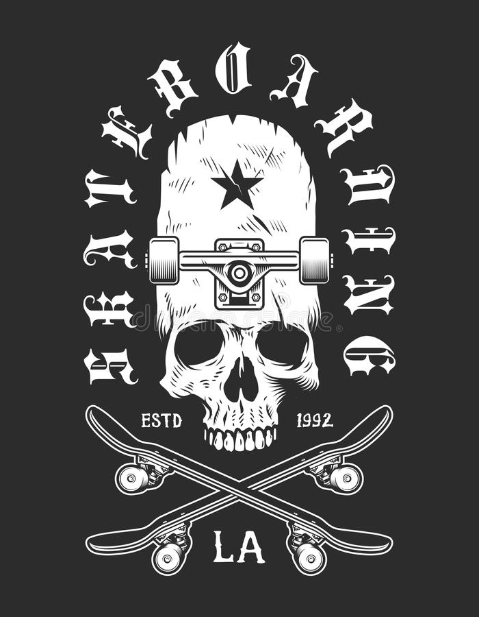 Wijnoogst die zwart-wit embleem met een skateboard rijden vector illustratie
