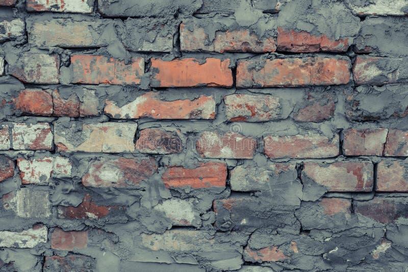 Wijnoogst dilapidated cementbakstenen muur grunge Grijze de textuurachtergrond van het bakstenen muurcement Uitstekende rode baks royalty-vrije stock afbeeldingen