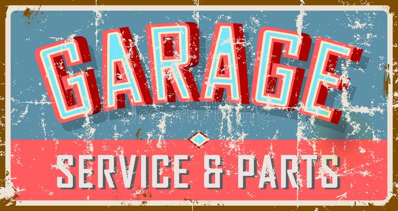 Wijnoogst doorstaan garageteken, royalty-vrije illustratie