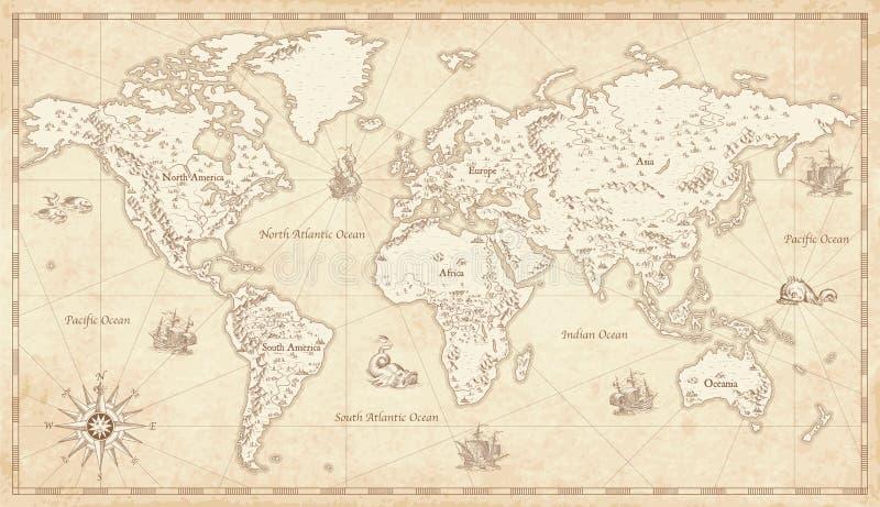 Wijnoogst Geïllustreerde Wereldkaart royalty-vrije illustratie