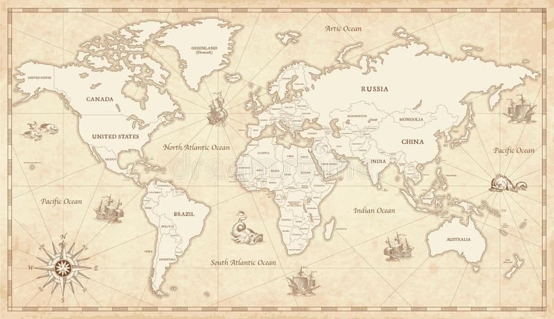 Wijnoogst Geïllustreerde Wereldkaart stock illustratie