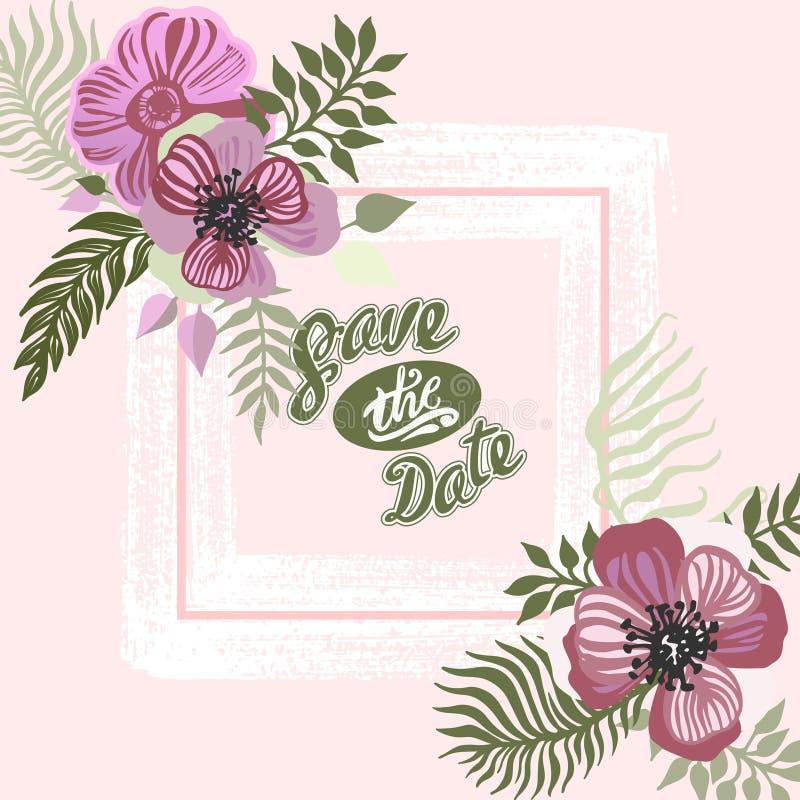 Wijnoogst geïnspireerde de zomer tropische bloemen en bladeren vector illustratie
