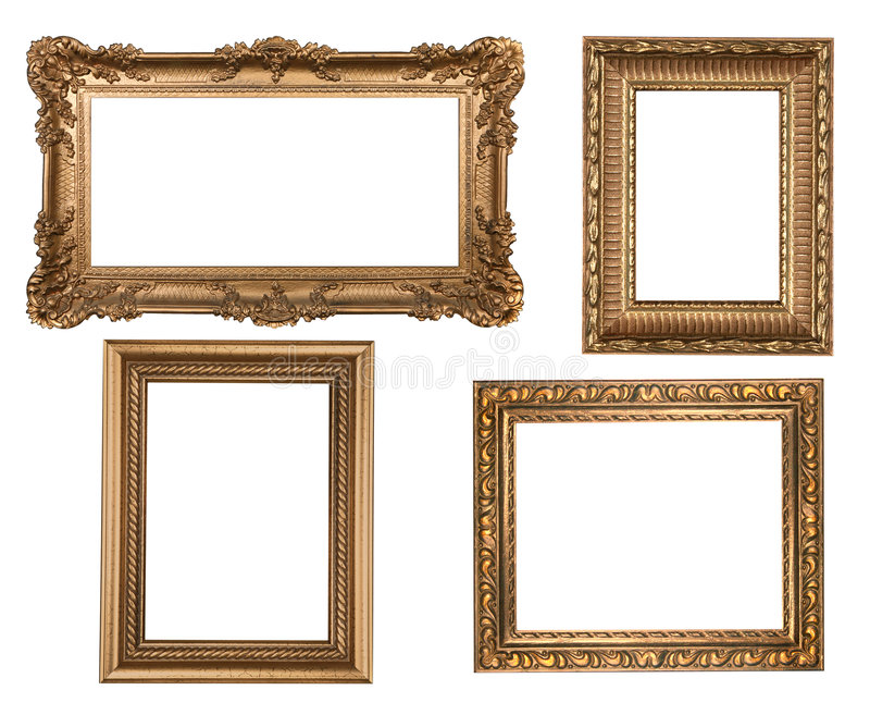 Wijnoogst Gedetailleerde Gouden Lege Frames Picure stock foto's
