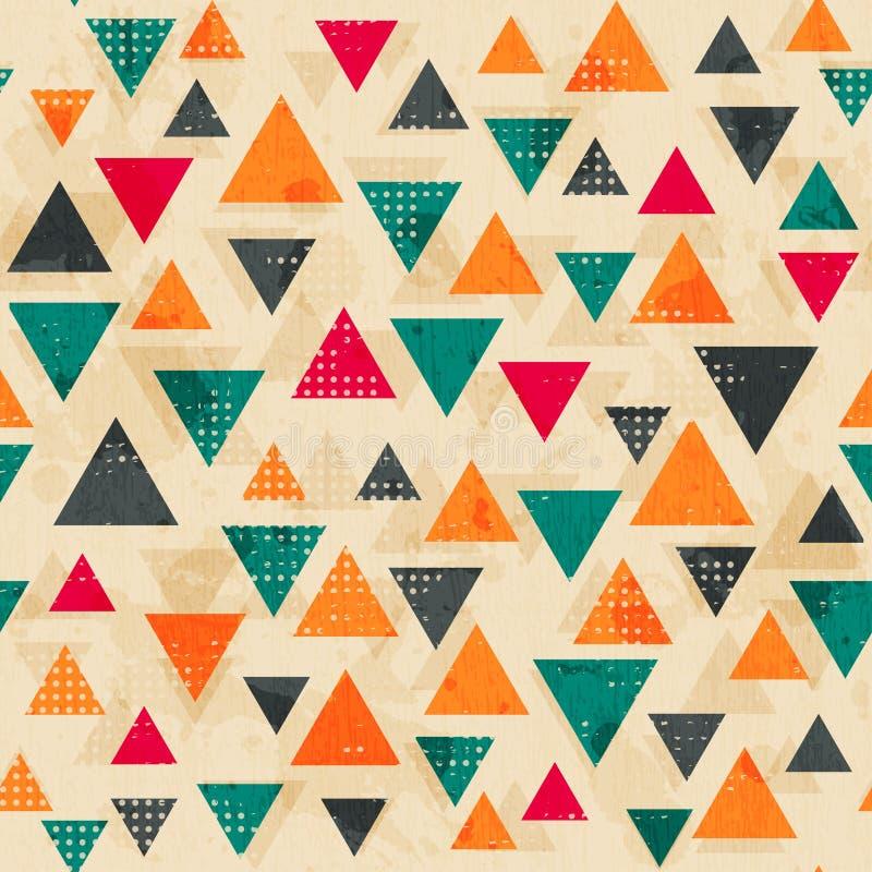 Wijnoogst gekleurd driehoekspatroon met grungeeffect royalty-vrije illustratie