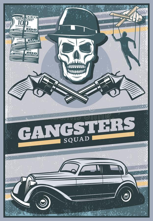 Wijnoogst Gekleurde Gangsteraffiche stock illustratie