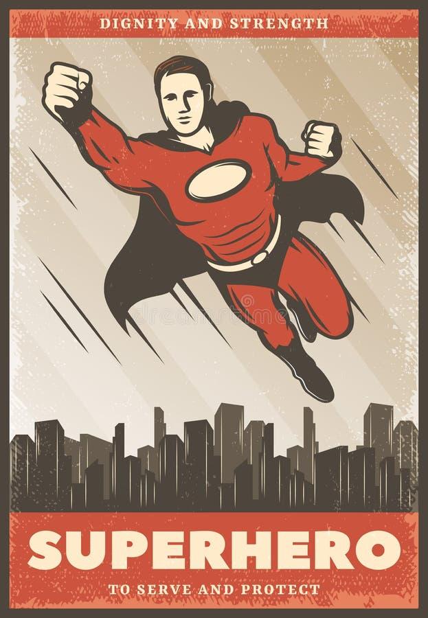 Wijnoogst Gekleurde Superhero-Affiche royalty-vrije illustratie