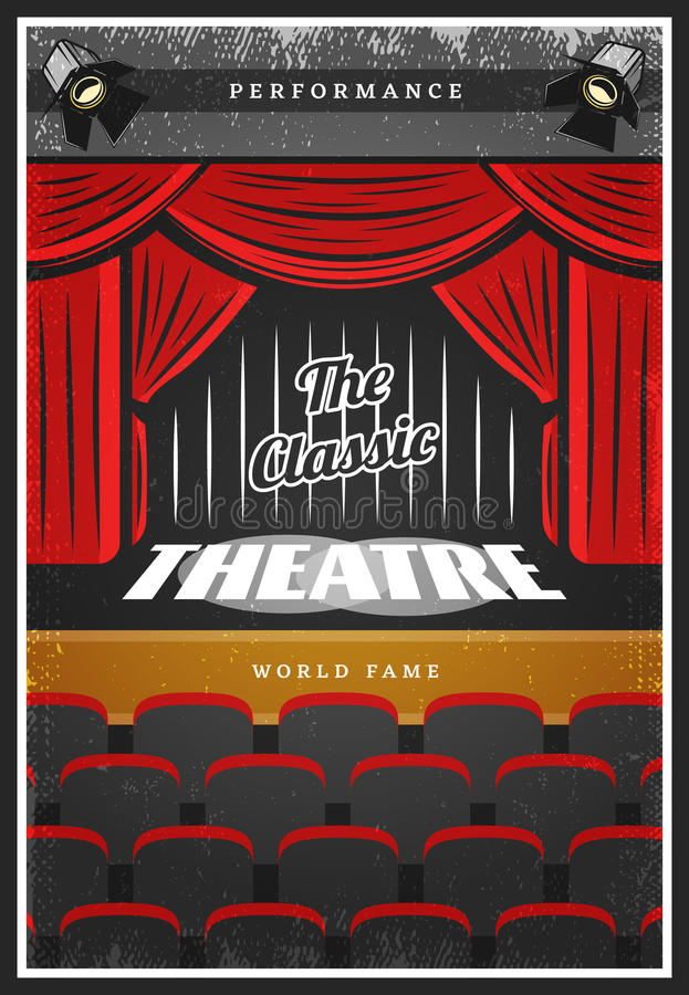 Wijnoogst Gekleurde Theater Reclameaffiche royalty-vrije illustratie