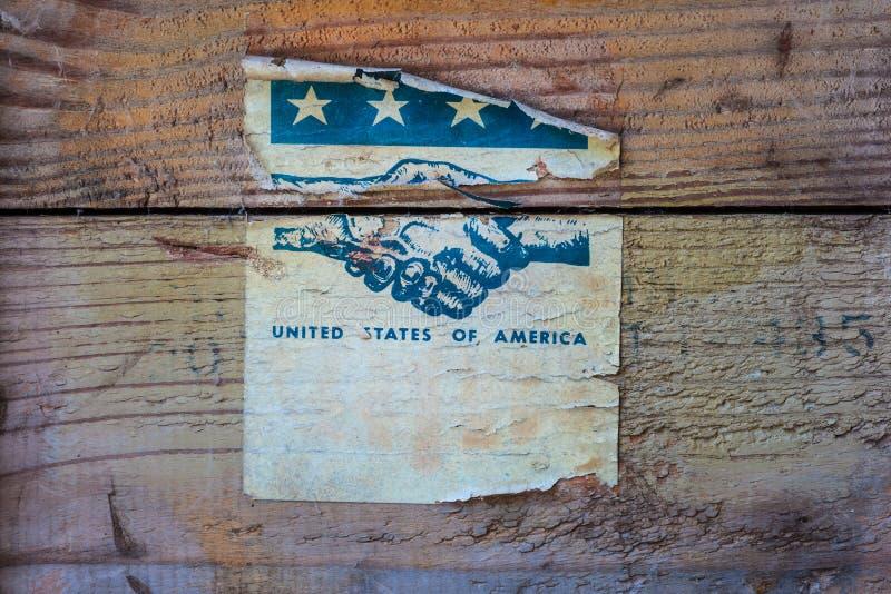 Wijnoogst gescheurd etiket van de Verenigde Staten van Amerika stock fotografie