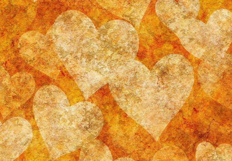 Wijnoogst geschilderde hartenachtergronden stock illustratie