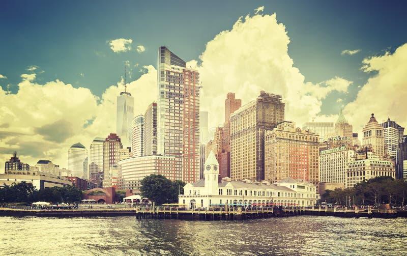 Wijnoogst gestemd beeld van de waterkant van New York royalty-vrije stock afbeeldingen