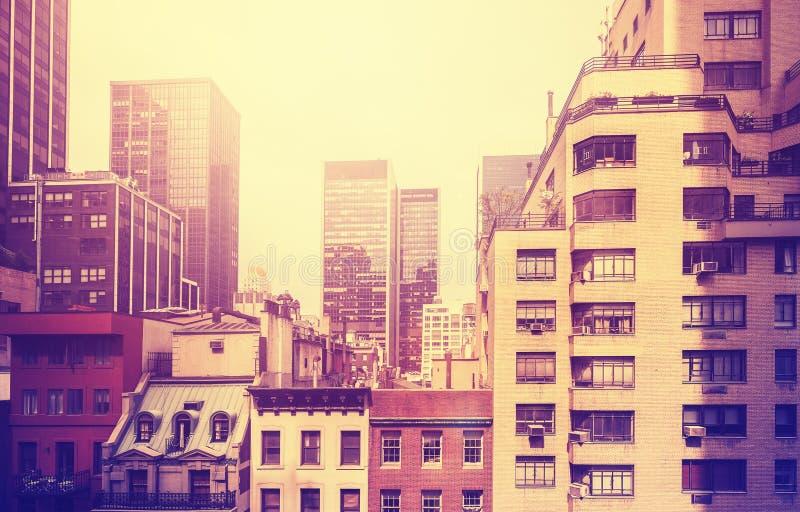 Wijnoogst gestileerd beeld van Manhattan, NYC, de V.S. stock foto's